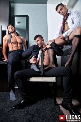 Sex After a Business Lunch Starring Adam Killian, Fernando Torres, and Valentino Medici - Gay Movies - Lucas Entertainment