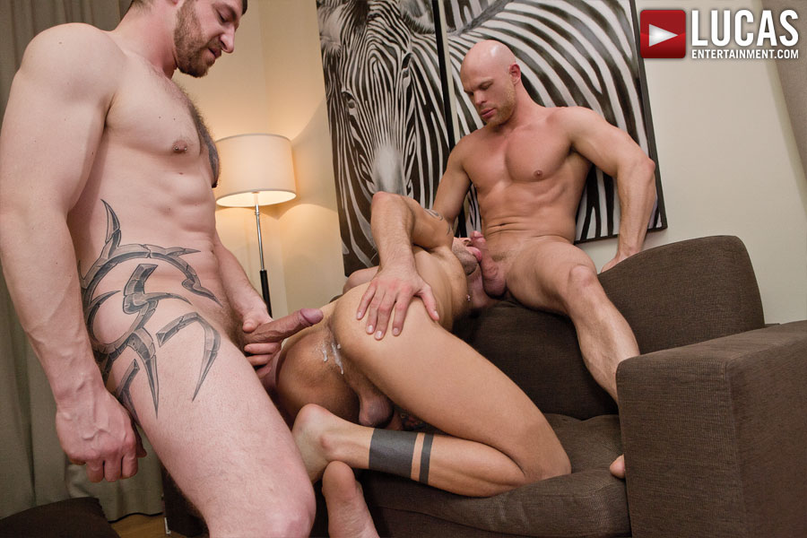 Jonathan Agassi Takes Double-Dick Bareback from Jeff Stronger and Marco Milan - Gay Movies - Lucas Entertainment
