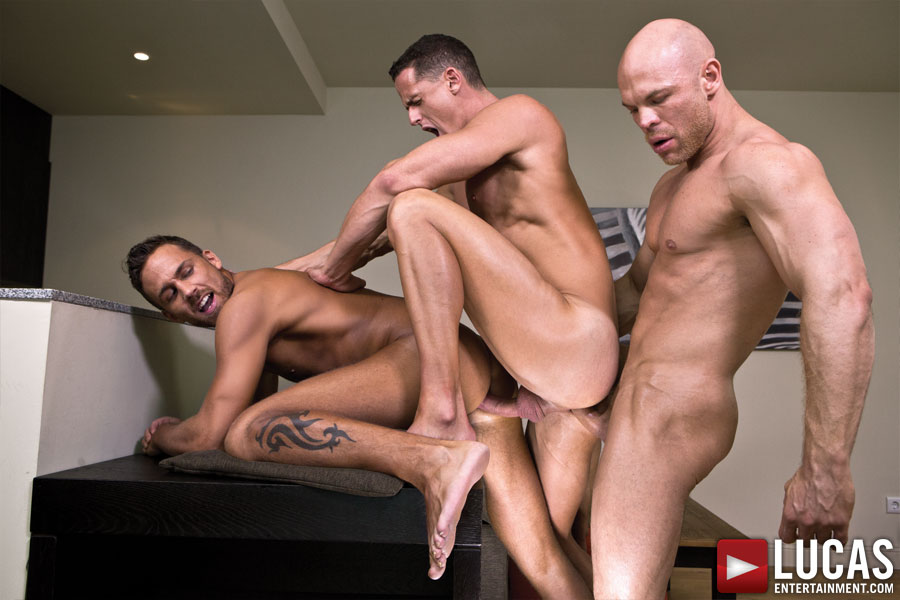 Marco Milan, Logan Moore, and Ivan Gregory Suck and Fuck Raw - Gay Movies - Lucas Entertainment
