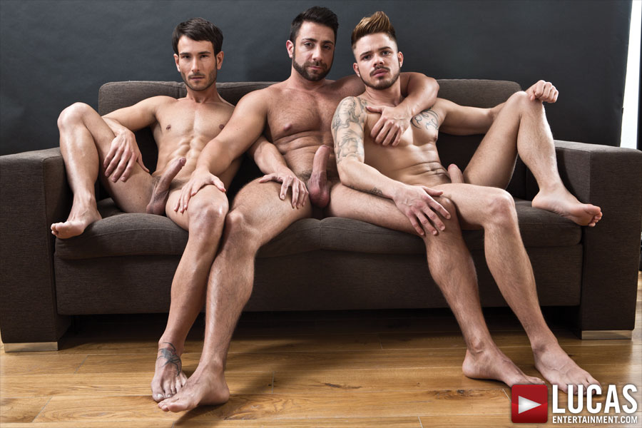 Valentino Medici, Fabio Lopez, and Mark Sanz Blow Their Raw Loads - Gay Movies - Lucas Entertainment