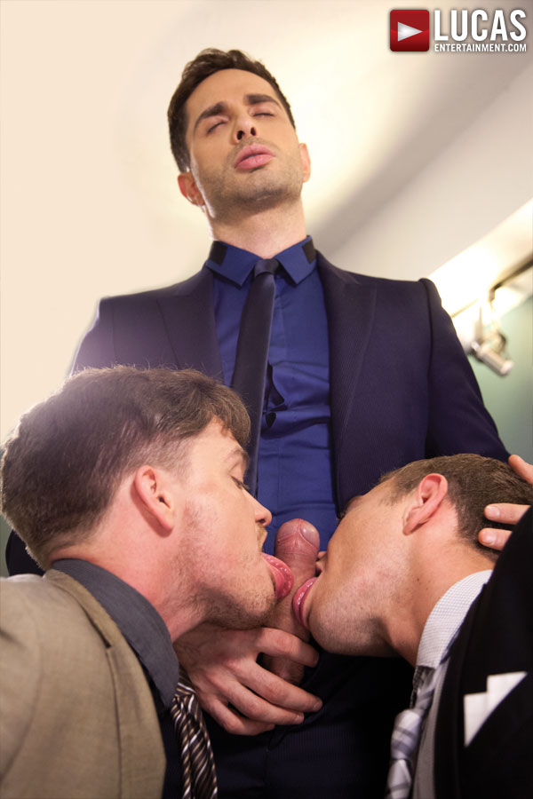 Michael Lucas, Alexander Greene, FX Rios, & Lucas Knight: Raw Boardroom Sex - Gay Movies - Lucas Entertainment