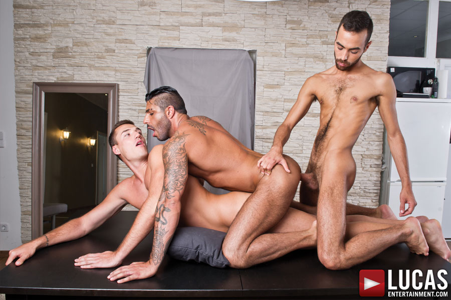 Alex Lopez, Theo Ford, Raul Korso, and Fostter Riviera: Gay Bareback Sex - Gay Movies - Lucas Entertainment