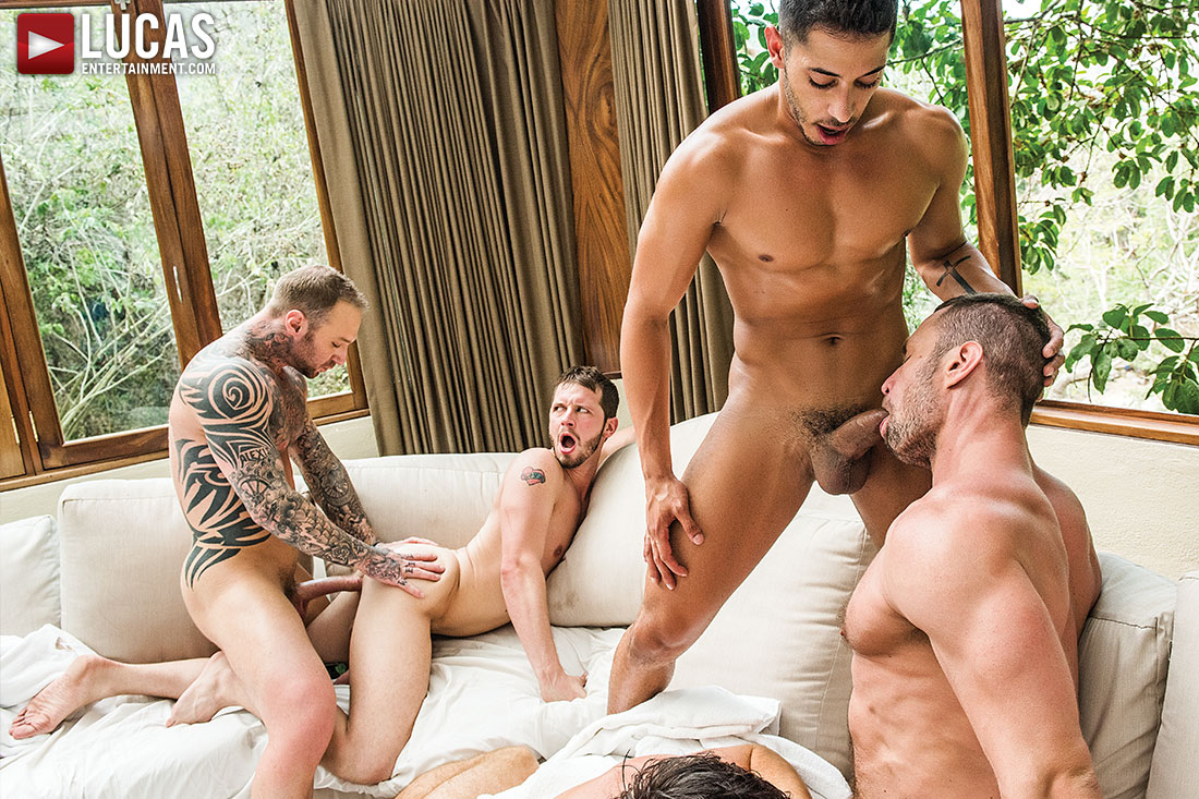 Gay orgy as his mouth went up and down on 9