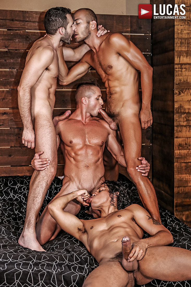 Alejandro Castillo, Wolf Rayet, Dominic Arrow, Dennis Sokolov - Raw Sucking And Fucking - Gay Movies - Lucas Entertainment