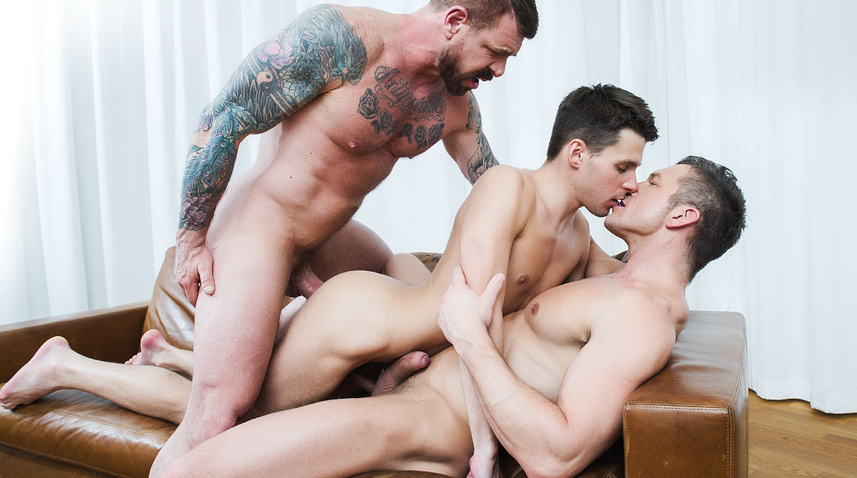 Rocco Steele And Tomas Brand Sodomize Dmitry Osten With Their Hung Uncut Cocks