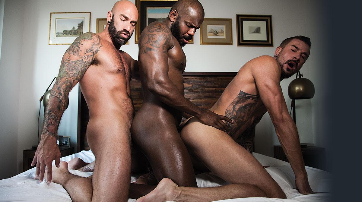Rod Beckmann, Drew Sebastian, Dolf Dietrich   Interracial Threesome