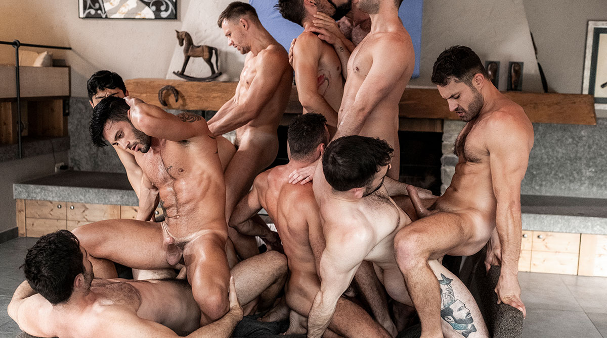 11-Man Bareback Guy Pile