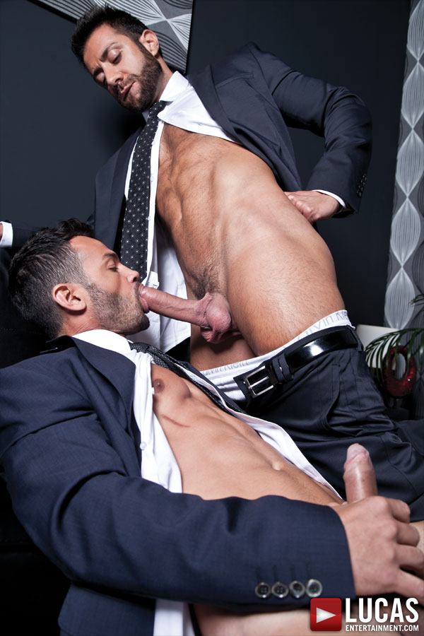 Valentino Medici Opens Adriano Carrasco's Suit Pants for a Fuck - Gay Movies - Lucas Entertainment