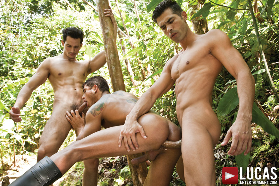 D.O. Enjoys a Hardcore Threesome in the Rain Forest - Gay Movies - Lucas Entertainment