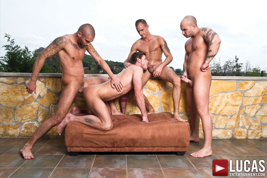 Toby Dutch Rides Raw Cock in a Bareback Foursome - Gay Movies - Lucas Entertainment