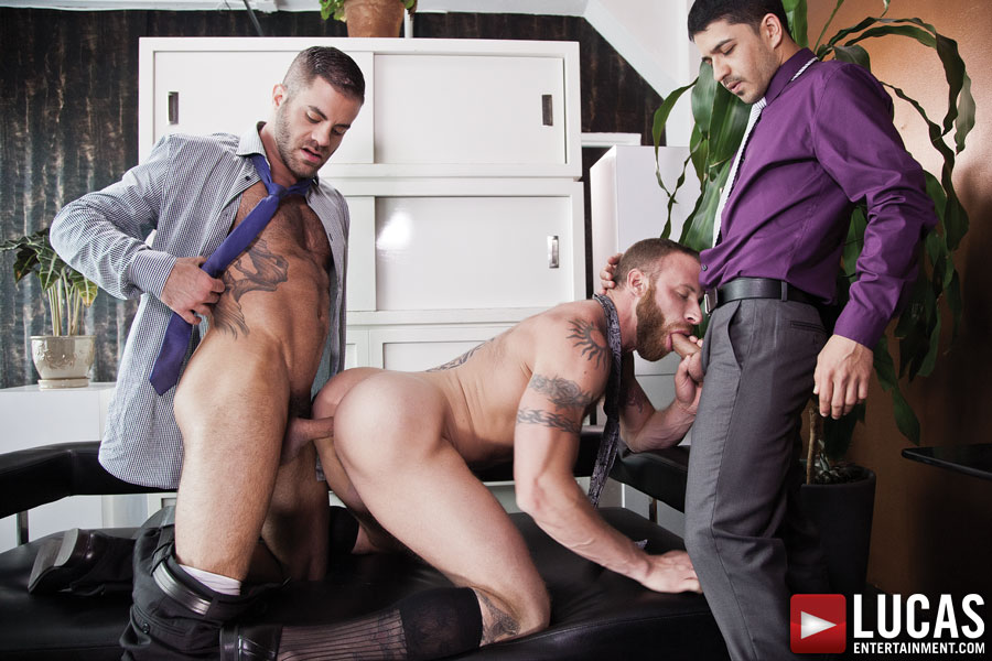 Derek Parker, Marcus Isaacs, and BJ Rhubarb Fuck Bareback After a Meeting - Gay Movies - Lucas Entertainment
