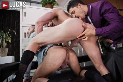 Derek Parker, Marcus Isaacs, and BJ Rhubarb Fuck Bareback After a Meeting - Gay Movies - Lucas Entertainment