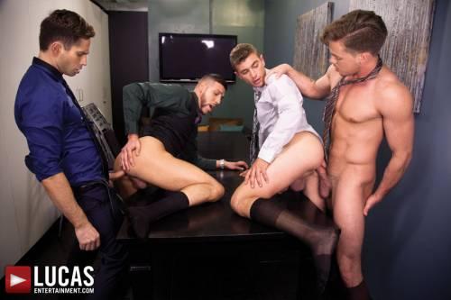Michael Lucas, Alexander Greene, FX Rios, & Lucas Knight: Raw Boardroom Sex - Gay Movies - Lucas Entertainment