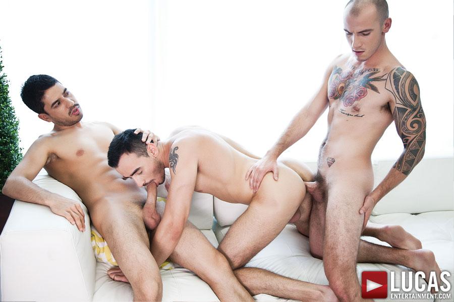 Cam Christou, Nigel Banks, and BJ Rhubarb | Bareback Threesome - Gay Movies - Lucas Entertainment