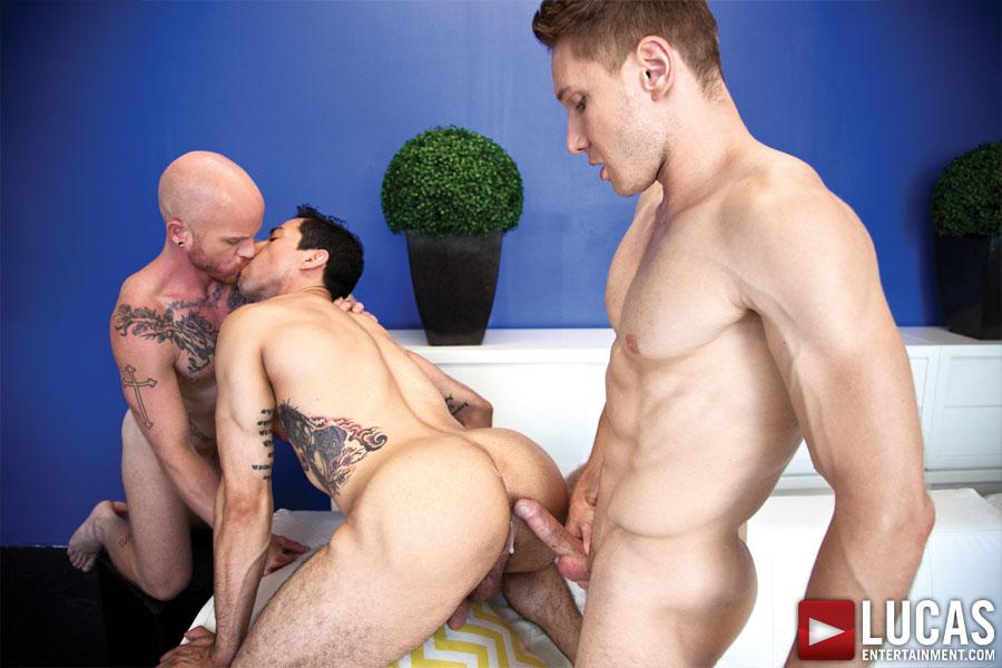 Comrad Blu Fucks Raw with Mikoah Kan and Brock Rustin - Gay Movies - Lucas Entertainment