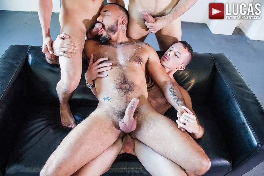 Alessio Romero Barebacks With Jimmie Slater, Adam Isaacs, And BJ Rhubarb - Gay Movies - Lucas Entertainment