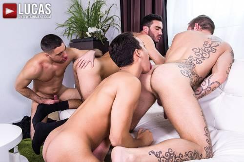 Brice Farmer Barebacks With Joey Pele, Alejandro Alvarez, And Esteban Nice - Gay Movies - Lucas Entertainment