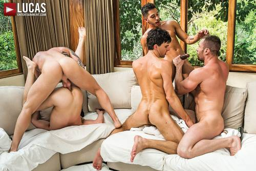 Seven-Man Orgy Featuring Dylan James, Alejandro Castillo, And Drae Axtell - Gay Movies - Lucas Entertainment