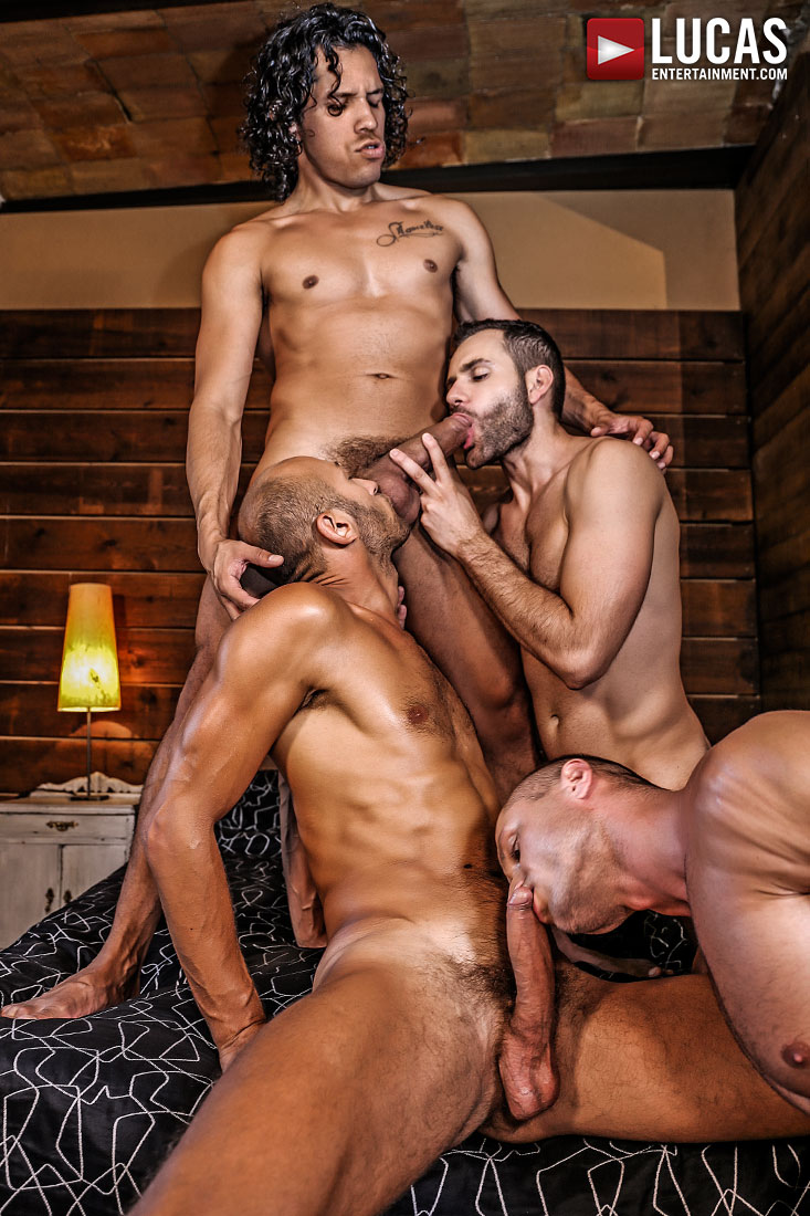 Alejandro Castillo, Wolf Rayet, Dominic Arrow, Dennis Sokolov - Raw Sucking And Fucking - Gay Movies - Lucas Entertainment