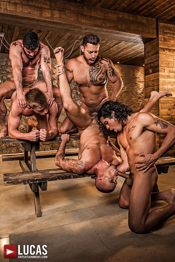 Alejandro Castillo, Viktor Rom, Bogdan Gromov, Mario Domenech, And Damien Crosse's Bareback Orgy - Gay Movies - Lucas Entertainment