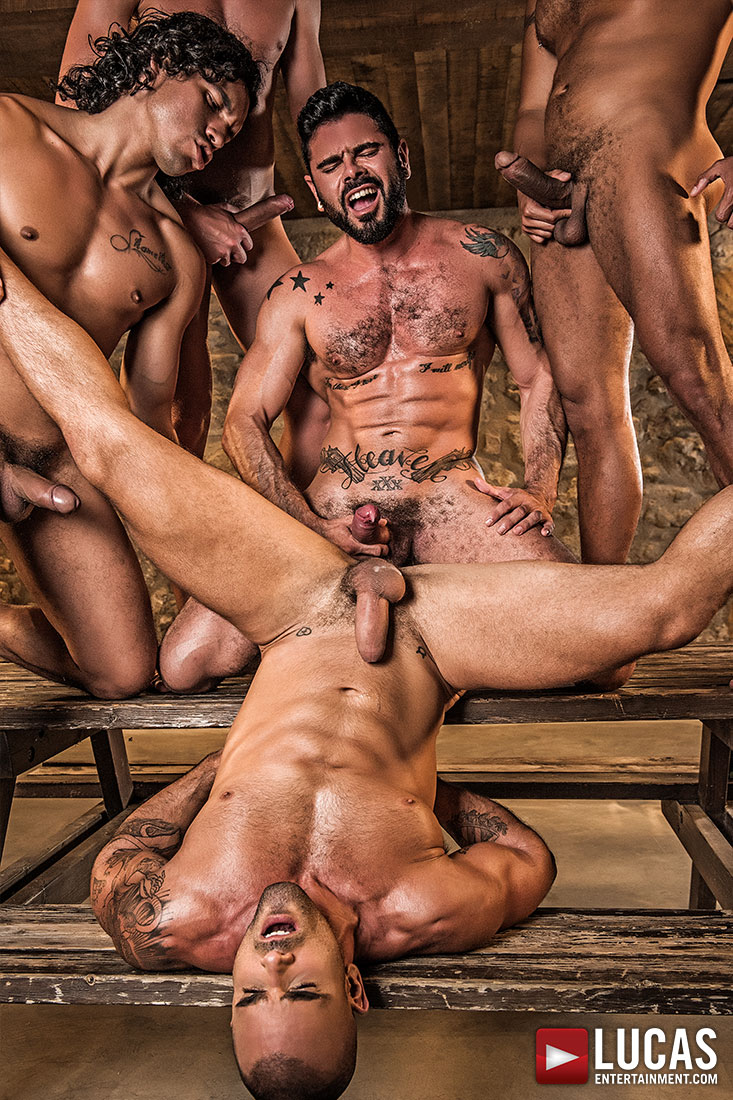 Alejandro Castillo, Viktor Rom, Bogdan Gromov, Mario Domenech, And Damien Crosse's Bareback Orgy - Gay Movies - Lucas Entertainment
