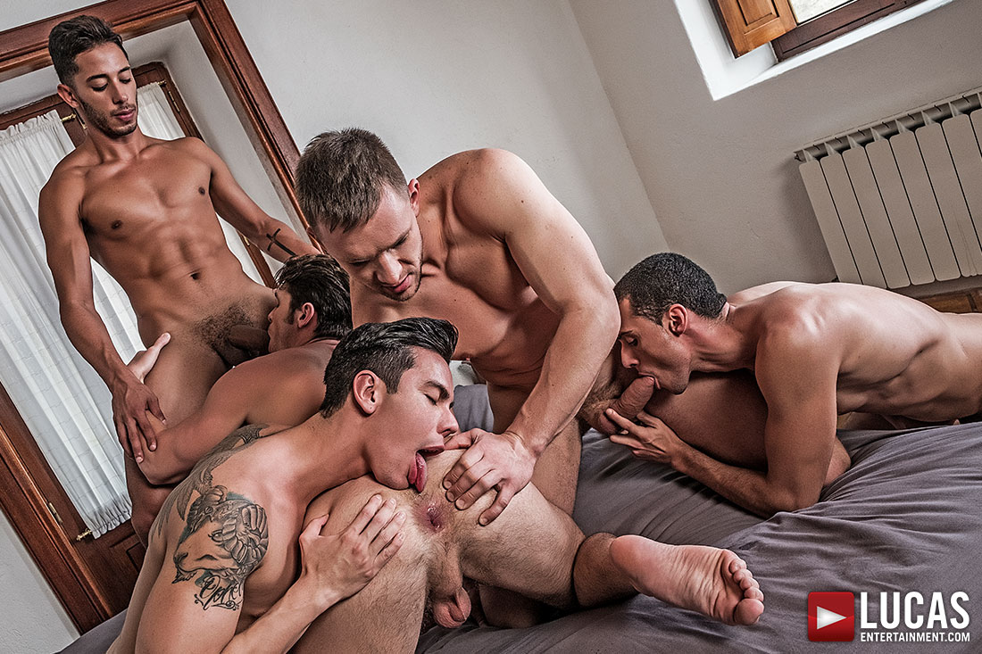 Devin Franco, Andrey Vic, Javi Velaro, Drae Axtell, Angel Cruz | Raw Double-Penetration - Gay Movies - Lucas Entertainment