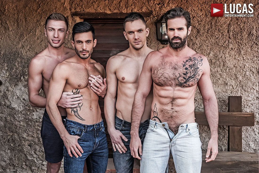 Andrey Vic, Bogdan Gromov, Dani Robles, Andy Star | Bareback Orgy - Gay Movies - Lucas Entertainment
