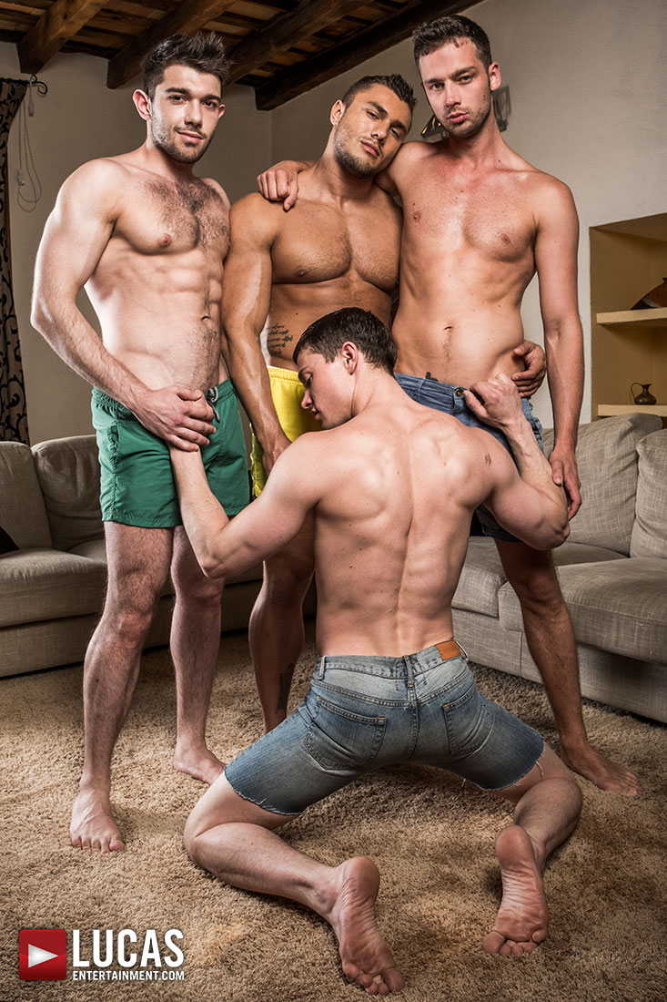 Ben Batemen, Brock Magnus, Ruslan Angelo, Damon Heart | Raw Double Fucking - Gay Movies - Lucas Entertainment