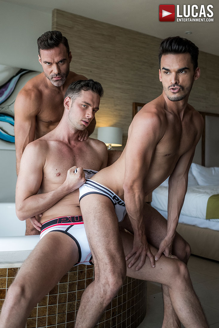 Aaden Stark Takes Raw Dick From Manuel Skye And Damon Heart - Gay Movies - Lucas Entertainment