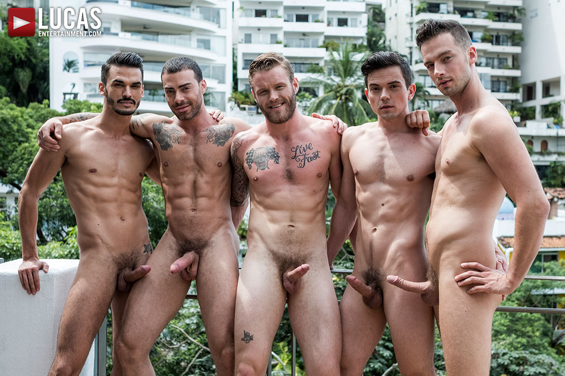 Shawn, Carlos, Aaden, Damon, Dakota | Bareback Five-Way - Gay Movies - Lucas Entertainment
