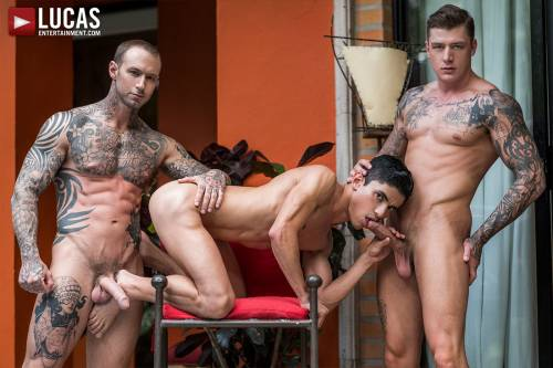 Dylan James And Geordie Jackson Double-Team Joaquin Santana - Gay Movies - Lucas Entertainment