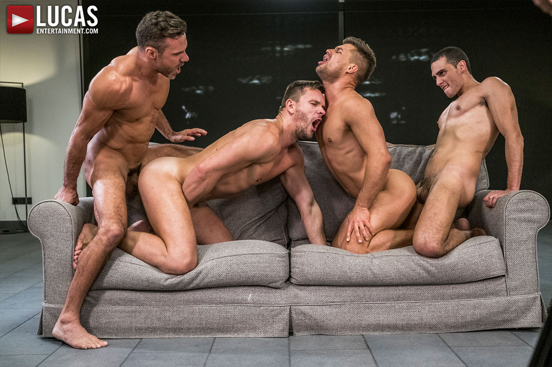 Manuel Skye, Andrey Vic, Javi Velaro, Klim Gromov | Bareback Four-Way - Gay Movies - Lucas Entertainment