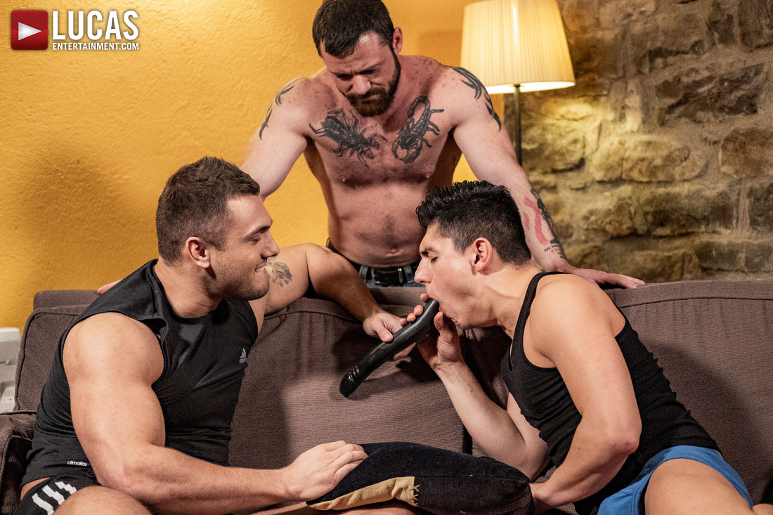 Sergeant Miles And Brock Magnus Spit-Roast Ken Summers - Gay Movies - Lucas Entertainment
