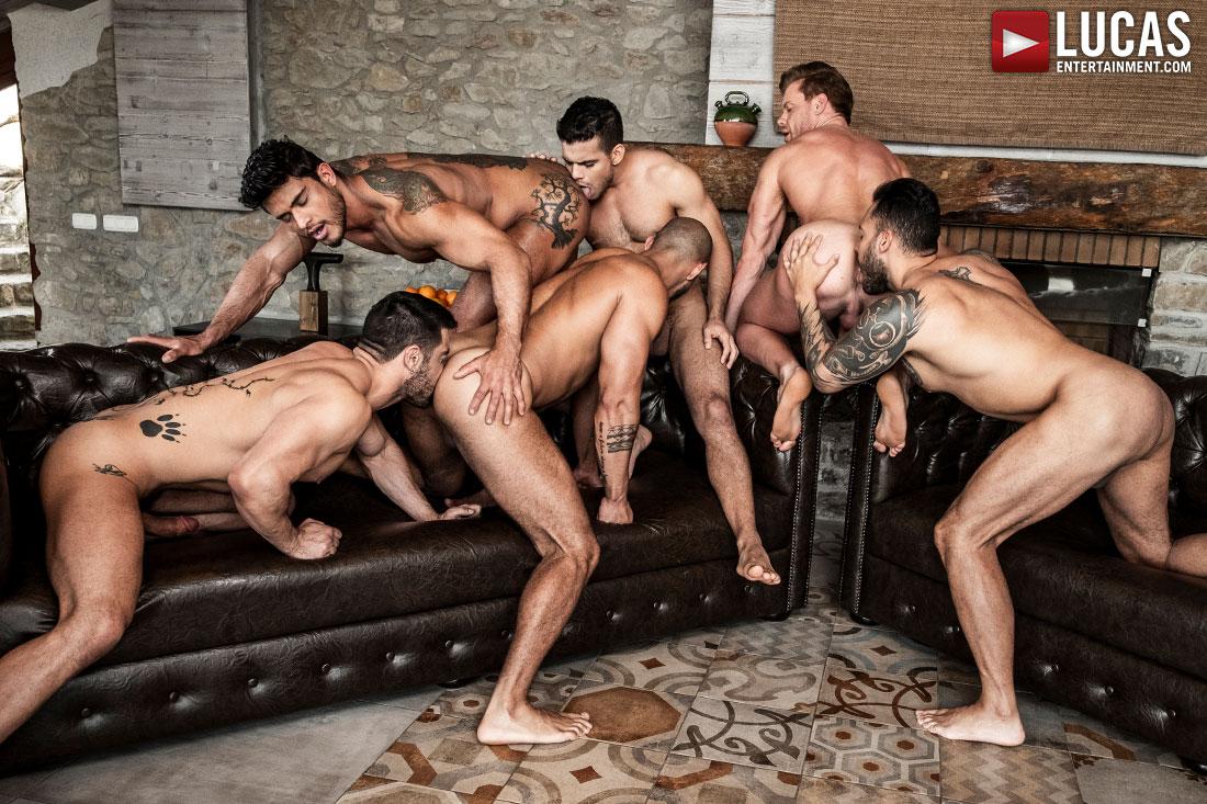 Throbbing gay raw orgy