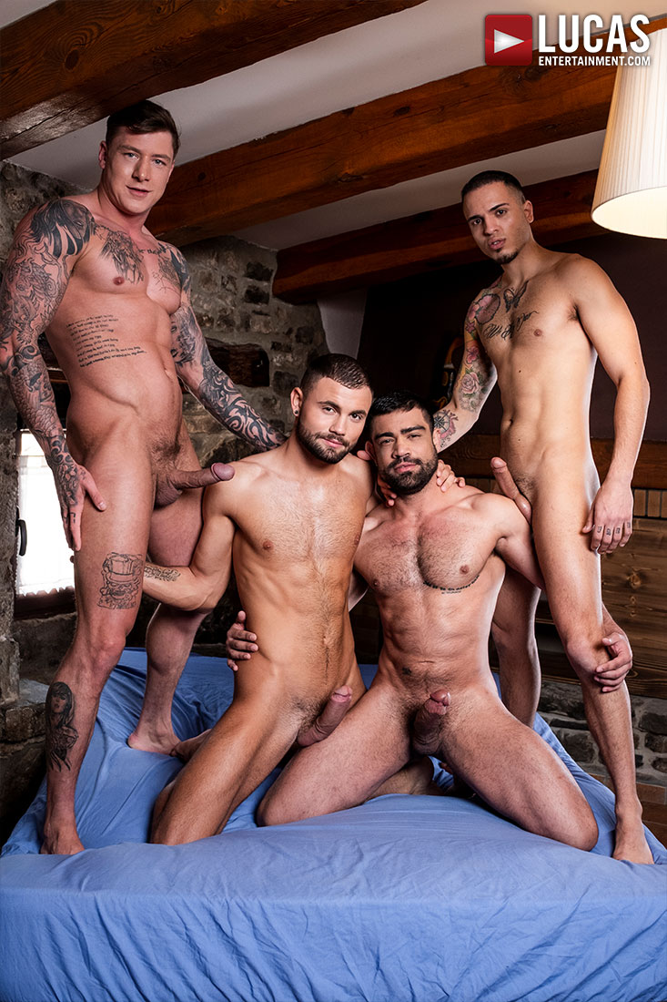 Geordie Jackson And Leo Rex Pound Wagner Vittoria And Jeffrey Lloyd - Gay Movies - Lucas Entertainment