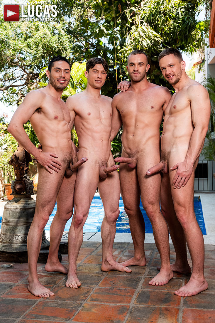 Andrey Vic, Jackson Radiz, Ruslan Angelo, Ashton Labruce | Bareback Four-Way - Gay Movies - Lucas Entertainment