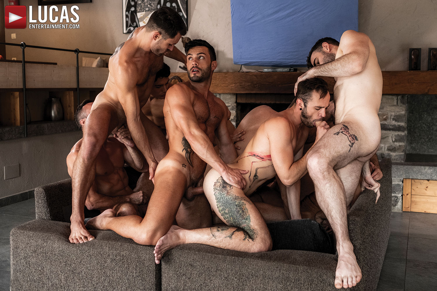 11-Man Bareback Guy Pile - Gay Movies - Lucas Entertainment