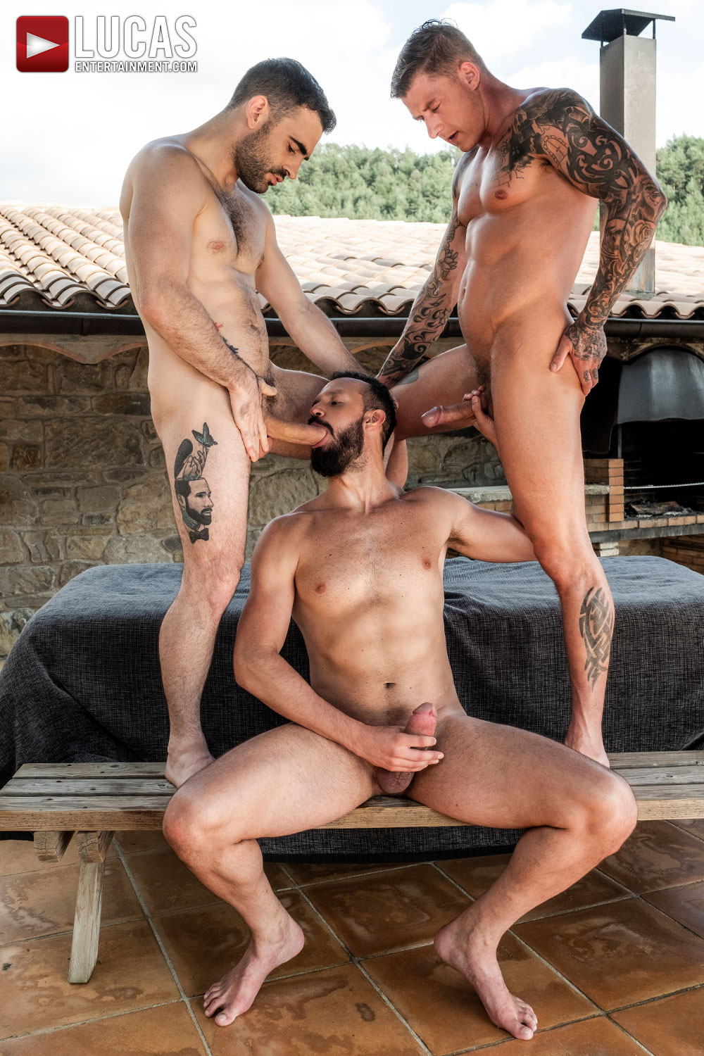 Max Arion, Geordie Jackson, Andy Onassis | Outdoors Threesome - Gay Movies - Lucas Entertainment