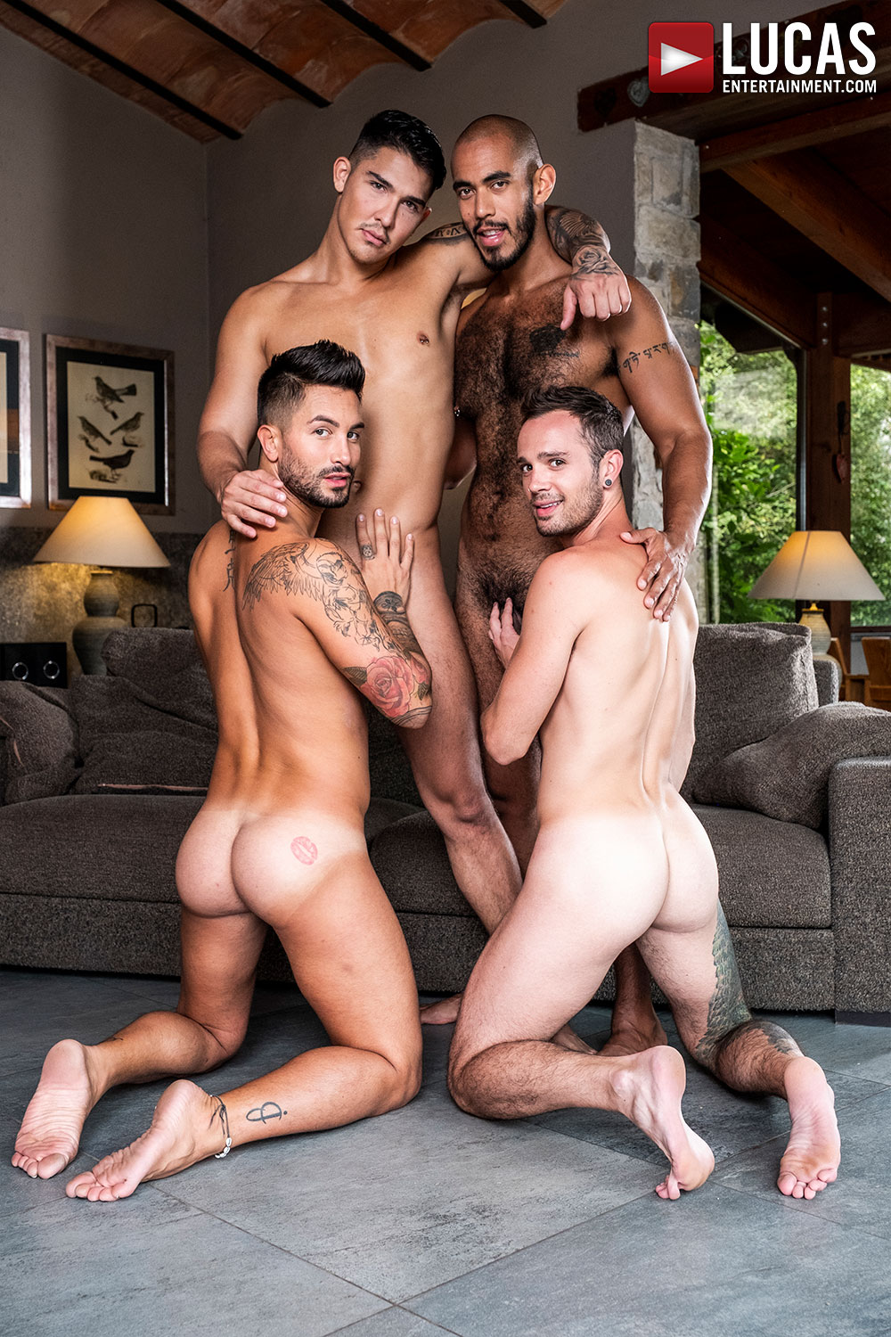 Louis, Apolo, Drake, And Andrea's Ass-Splitting Foursome - Gay Movies - Lucas Entertainment