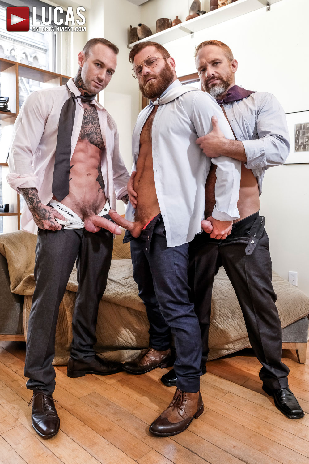 Riley Mitchel Services His Bosses Dylan James And Dirk Caber - Gay Movies - Lucas Entertainment