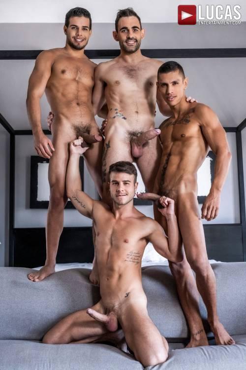 Max Arion, Allen King, Rico Marlon, Max Avila   Four-Way Breeding - Gay Movies - Lucas Entertainment