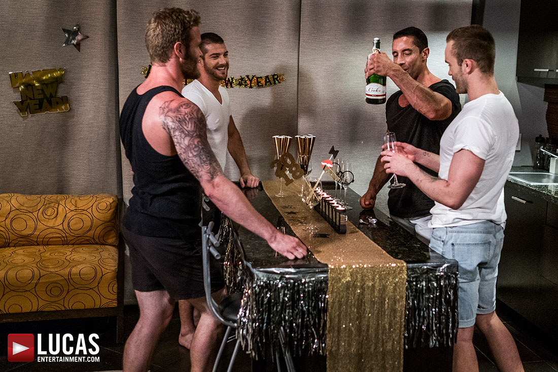 Tryp Bates, Shawn Reeve, Nick Capra, Jackson Radiz | Bareback New Year's Eve - Gay Movies - Lucas Entertainment
