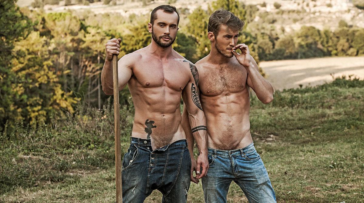 muscly dudes enjoy outdoor sex