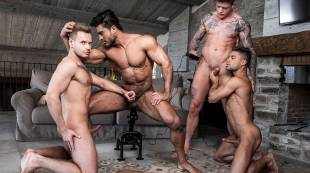 Diego And Geordie's Fuck-Machine Foursome