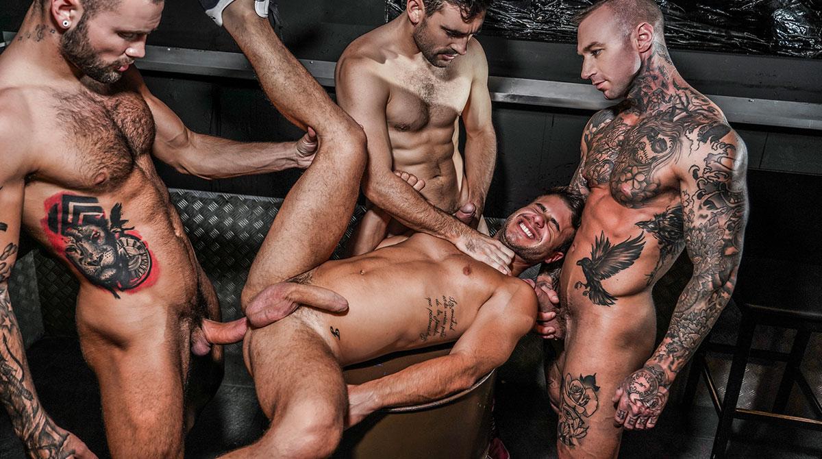 Allen King Gay Porn Bear allen king's 4-man gang bang | gay raw orgie | lucas